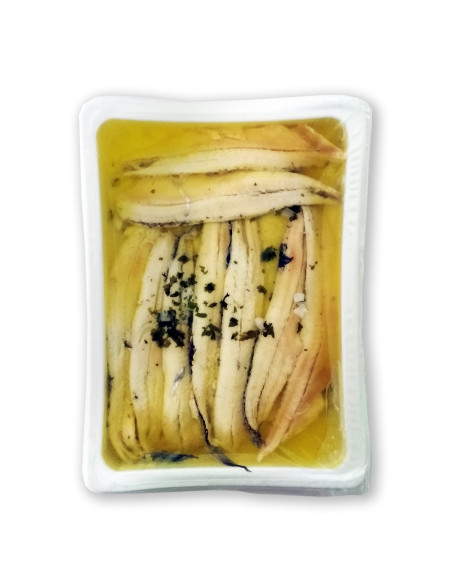 Boquerones, White Anchovies in Olive Oil, Garlic and Parsley, 80g retail tray